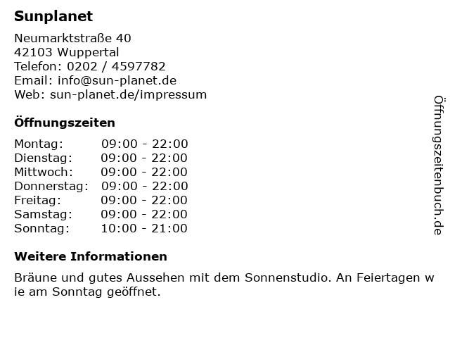 Sunplanet in Wuppertal: Adresse und Öffnungszeiten