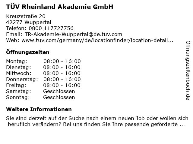 TÜV Rheinland Akademie GmbH in Wuppertal: Adresse und Öffnungszeiten