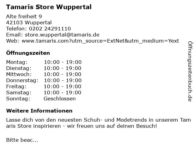 Tamaris Store Wuppertal in Wuppertal: Adresse und Öffnungszeiten