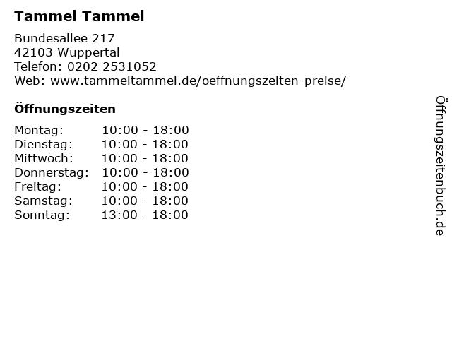 Tammel Tammel in Wuppertal: Adresse und Öffnungszeiten