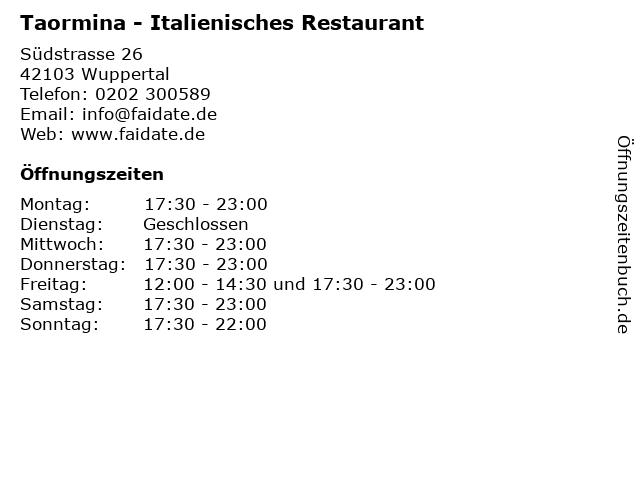 Taormina - Italienisches Restaurant in Wuppertal: Adresse und Öffnungszeiten