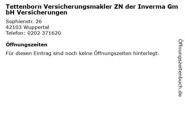 Tettenborn Versicherungsmakler ZN der Inverma GmbH Versicherungen in Wuppertal: Adresse und Öffnungszeiten