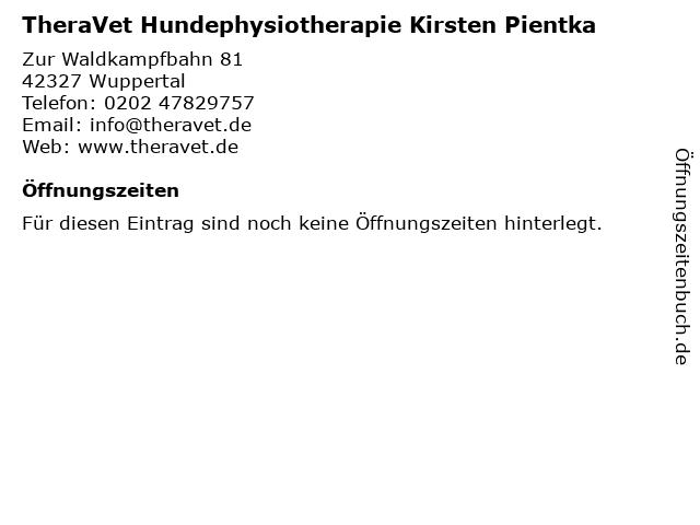 TheraVet Hundephysiotherapie Kirsten Pientka in Wuppertal: Adresse und Öffnungszeiten