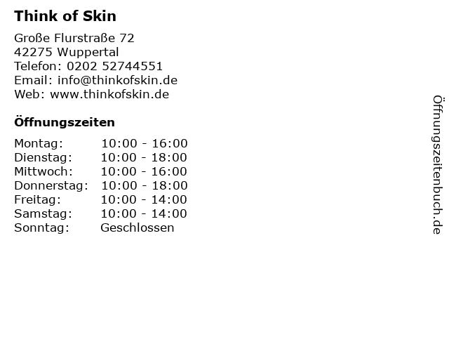 Think of Skin in Wuppertal: Adresse und Öffnungszeiten