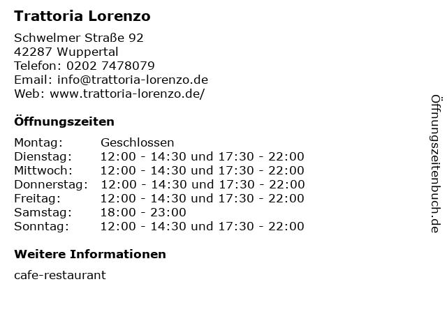 Trattoria Lorenzo in Wuppertal: Adresse und Öffnungszeiten