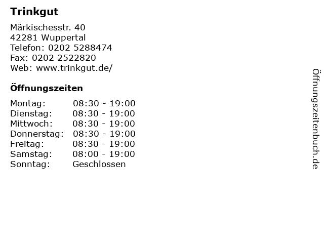 Trinkgut in Wuppertal: Adresse und Öffnungszeiten