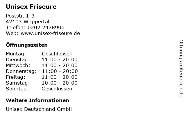 Unisex Friseure in Wuppertal: Adresse und Öffnungszeiten