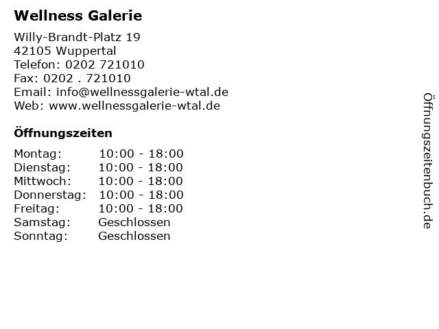 Wellness Galerie in Wuppertal: Adresse und Öffnungszeiten