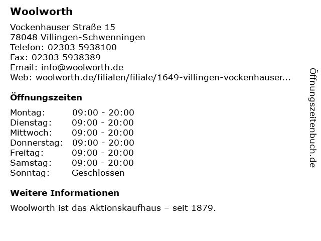 Woolworth GmbH in Wuppertal: Adresse und Öffnungszeiten