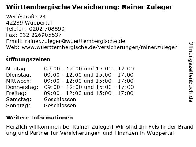 Württembergische Versicherung: Rainer Zuleger in Wuppertal: Adresse und Öffnungszeiten