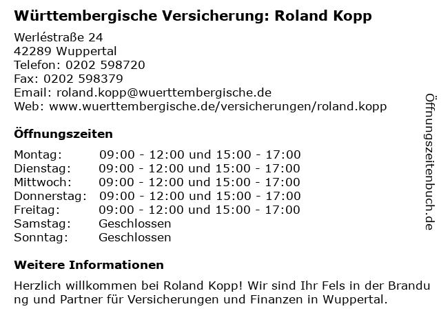 Württembergische Versicherung: Roland Kopp in Wuppertal: Adresse und Öffnungszeiten