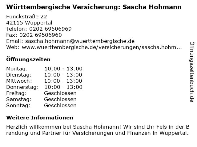 Württembergische Versicherung: Sascha Hohmann in Wuppertal: Adresse und Öffnungszeiten