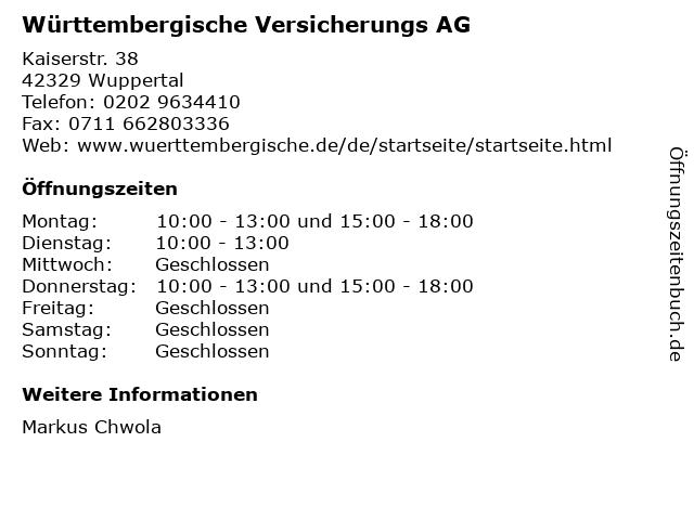 Württembergische Versicherungs AG in Wuppertal: Adresse und Öffnungszeiten