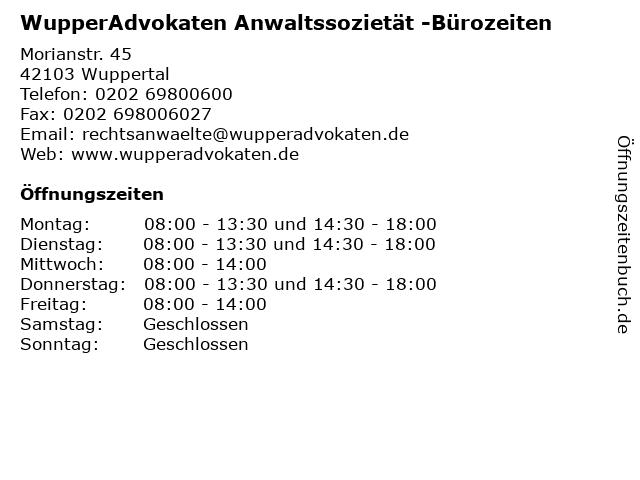 WupperAdvokaten Anwaltssozietät in Wuppertal: Adresse und Öffnungszeiten