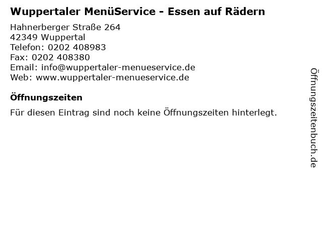 Wuppertaler MenüService - Essen auf Rädern in Wuppertal: Adresse und Öffnungszeiten