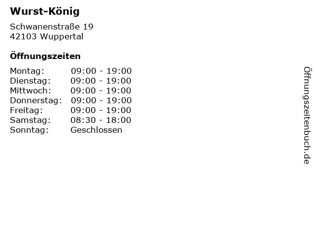 Wurst-König in Wuppertal: Adresse und Öffnungszeiten