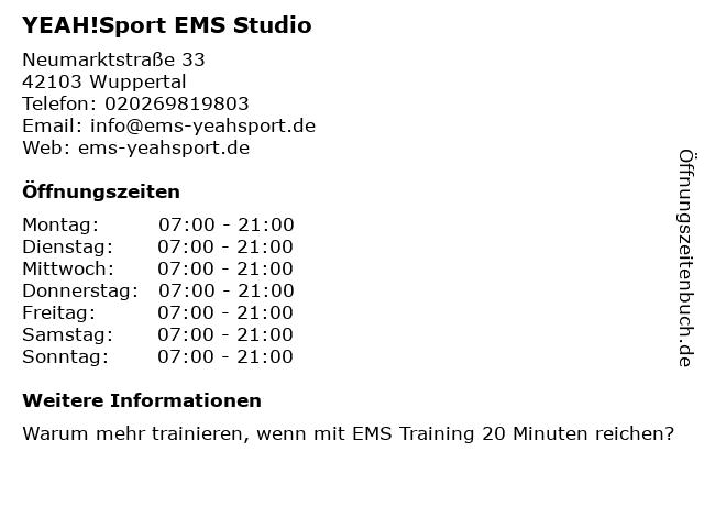 YEAH!Sport EMS Studio in Wuppertal: Adresse und Öffnungszeiten