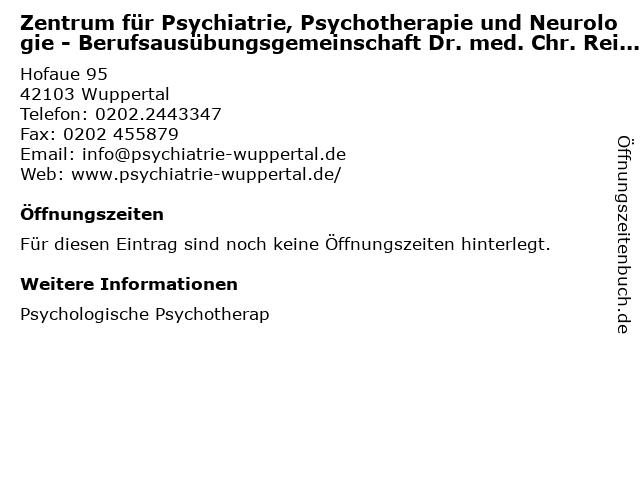 Zentrum für Psychiatrie, Psychotherapie und Neurologie - Berufsausübungsgemeinschaft Dr. med. Chr. Reichhardt / Volker Schauerte in Wuppertal: Adresse und Öffnungszeiten