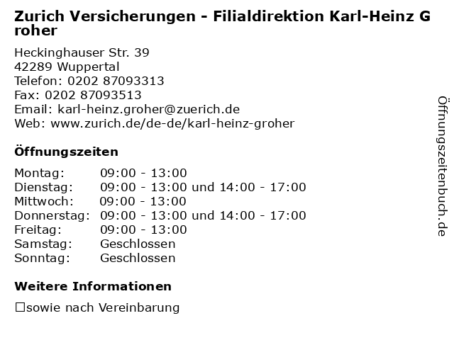 Zurich Versicherungen - Filialdirektion Karl-Heinz Groher in Wuppertal: Adresse und Öffnungszeiten