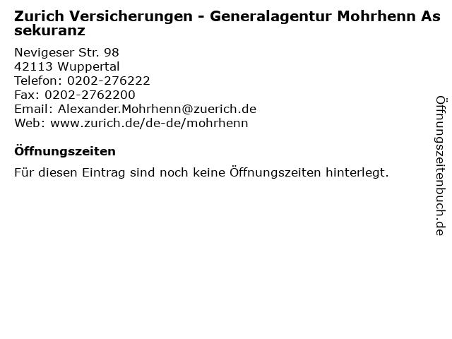 Zurich Versicherungen - Generalagentur Mohrhenn Assekuranz in Wuppertal: Adresse und Öffnungszeiten