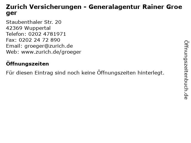 Zurich Versicherungen - Generalagentur Rainer Groeger in Wuppertal: Adresse und Öffnungszeiten