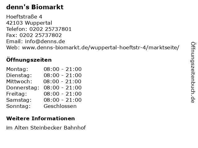 denn's Biomarkt in Wuppertal: Adresse und Öffnungszeiten