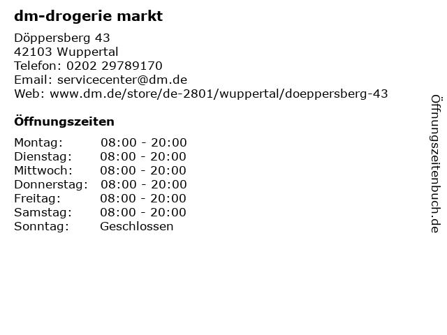 dm Drogeriemarkt in Wuppertal: Adresse und Öffnungszeiten