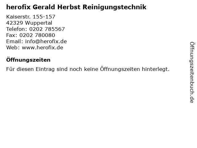 herofix Gerald Herbst Reinigungstechnik in Wuppertal: Adresse und Öffnungszeiten