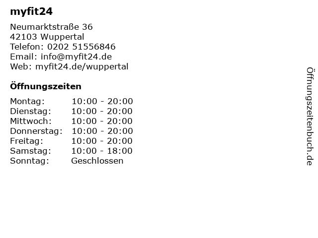 myfit24 in Wuppertal: Adresse und Öffnungszeiten