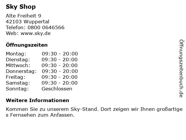 sky Entertainment Point in Wuppertal: Adresse und Öffnungszeiten