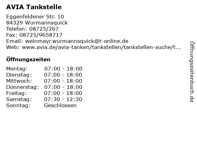 AVIA Tankstelle in Wurmannsquick: Adresse und Öffnungszeiten