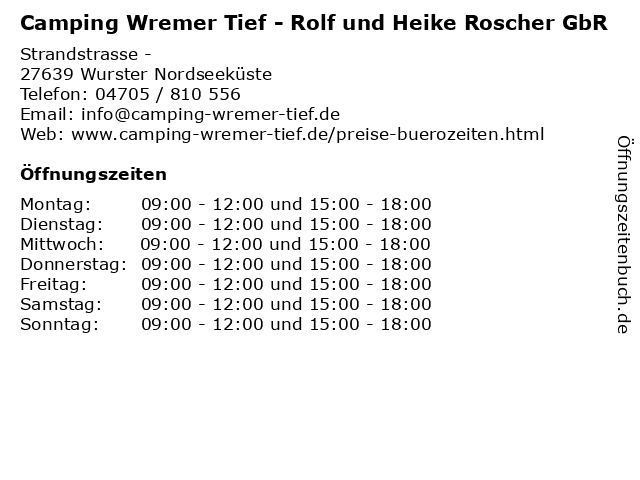 Camping Wremer Tief - Rolf und Heike Roscher GbR in Wurster Nordseeküste: Adresse und Öffnungszeiten