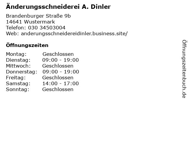 Änderungsschneiderei A. Dinler in Wustermark: Adresse und Öffnungszeiten