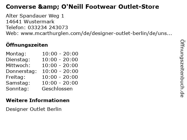 Converse & O'Neill Footwear Outlet-Store in Wustermark: Adresse und Öffnungszeiten