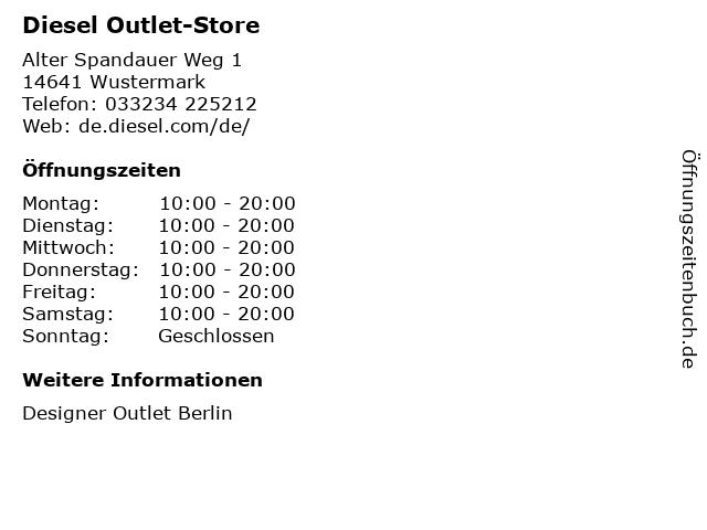 Diesel Outlet-Store in Wustermark: Adresse und Öffnungszeiten