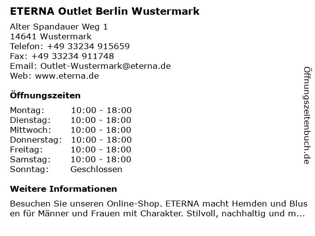 ETERNA Outlet Berlin Wustermark in Wustermark: Adresse und Öffnungszeiten