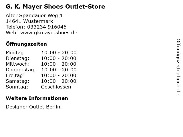 G. K. Mayer Shoes Outlet-Store in Wustermark: Adresse und Öffnungszeiten