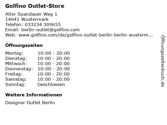 Golfino Outlet-Store in Wustermark: Adresse und Öffnungszeiten