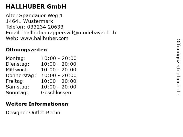 HALLHUBER GmbH in Wustermark: Adresse und Öffnungszeiten