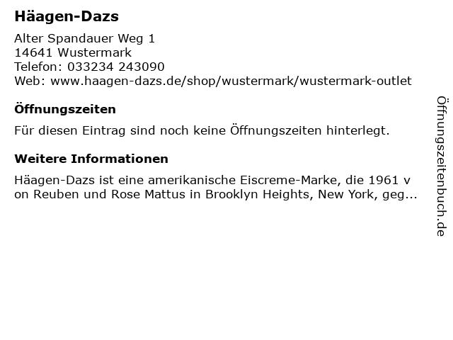 Häagen Dazs Outlet-Store in Wustermark: Adresse und Öffnungszeiten