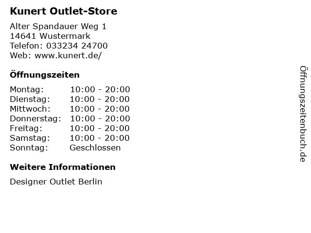 Kunert Outlet-Store in Wustermark: Adresse und Öffnungszeiten