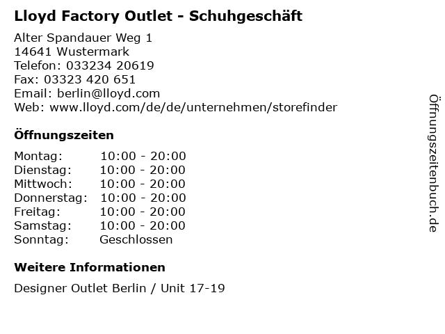 Lloyd Factory Outlet - Schuhgeschäft in Wustermark: Adresse und Öffnungszeiten