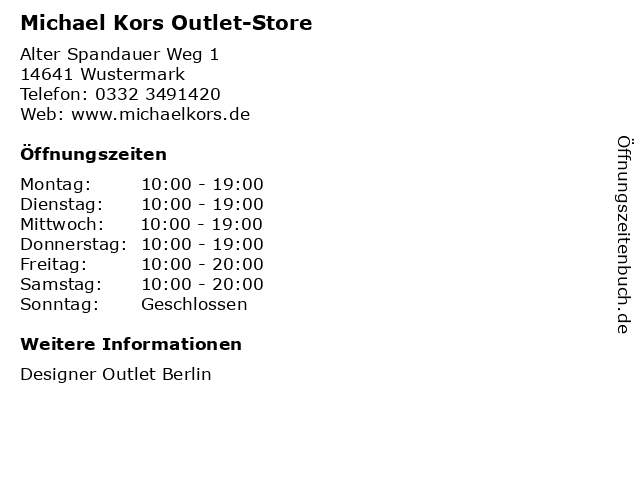 Michael Kors Outlet-Store in Wustermark: Adresse und Öffnungszeiten