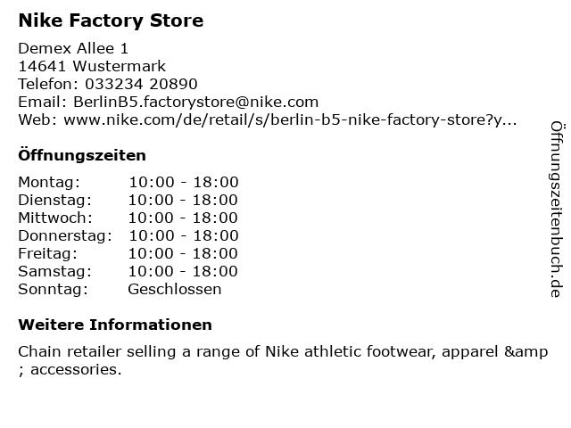 Nike Outlet-Store in Wustermark: Adresse und Öffnungszeiten