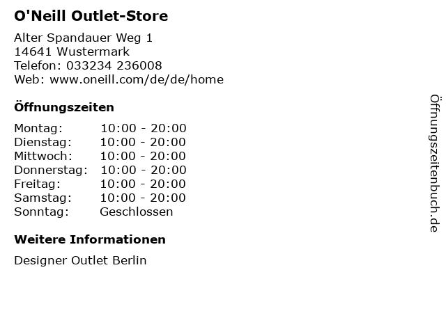 O'Neill Outlet-Store in Wustermark: Adresse und Öffnungszeiten