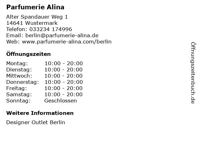 Parfumerie Alina in Wustermark: Adresse und Öffnungszeiten