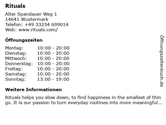 Rituals Outlet-Store in Wustermark: Adresse und Öffnungszeiten