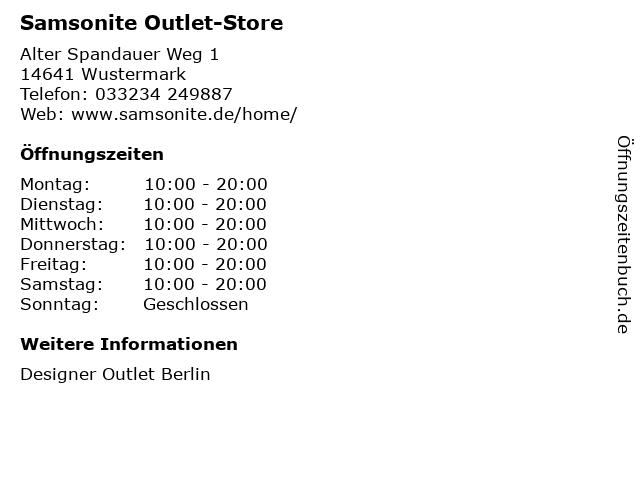 Samsonite Outlet-Store in Wustermark: Adresse und Öffnungszeiten