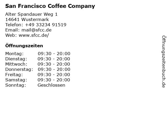 San Francisco Coffee Company in Wustermark: Adresse und Öffnungszeiten