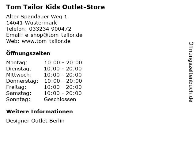 Tom Tailor Kids Outlet-Store in Wustermark: Adresse und Öffnungszeiten